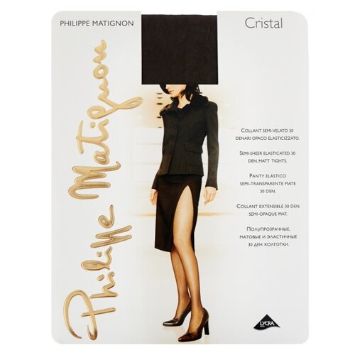 Колготки Philippe Matignon Cristal 30 den, размер 5-MAXI-XL, platino (серый) колготки philippe matignon cristal 30 den размер 5 maxi xl glace бежевый