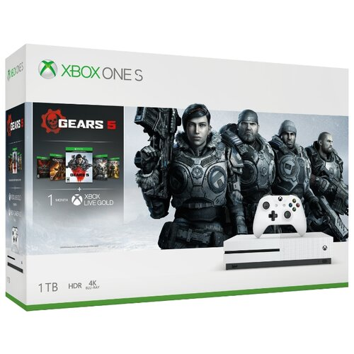 Игровая приставка Microsoft Xbox One S 1 ТБ белый + Gears 5 + Gears of War Ultimate Edition + Gears of War 2, 3, 4 + XboxLiveGold 1мес игра для xbox one microsoft gears of war ultimate edition 4v5 00022
