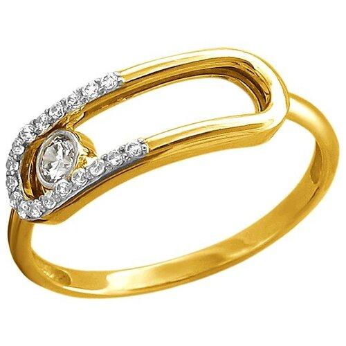 Эстет Кольцо с 19 фианитами из жёлтого золота 01К1313122Р, размер 18