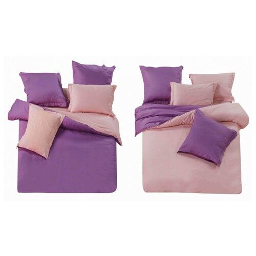 цена Постельное белье евростандарт СайлиД L-7, сатин фиолетовый/розовый онлайн в 2017 году