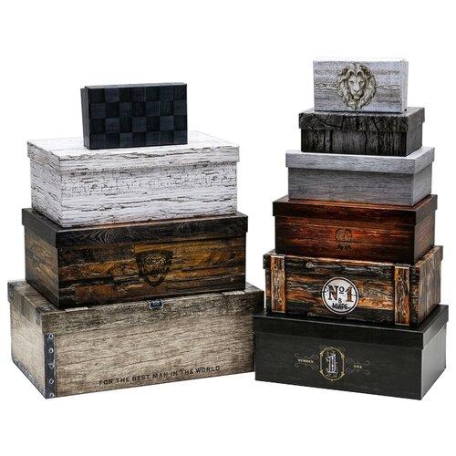 Коробка подарочная Дарите счастье Ящики, 10 шт. серый/коричневый/черный недорого
