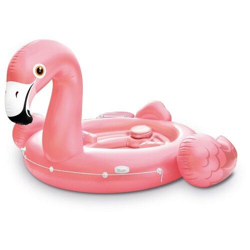 Лодка Intex Фламинго гигант 373x422 см розовый