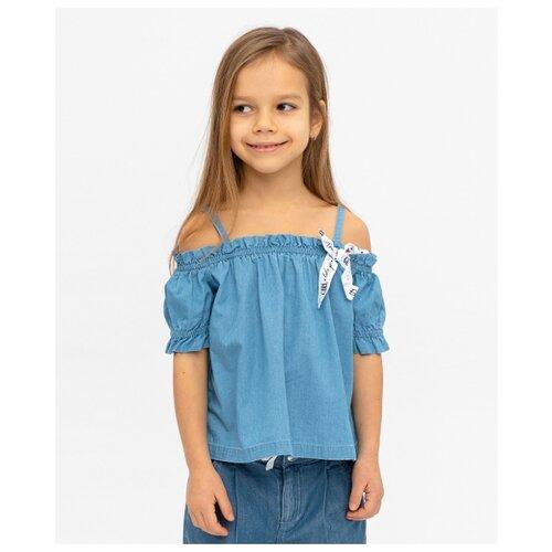 Купить Блузка Button Blue размер 104, голубой, Рубашки и блузы