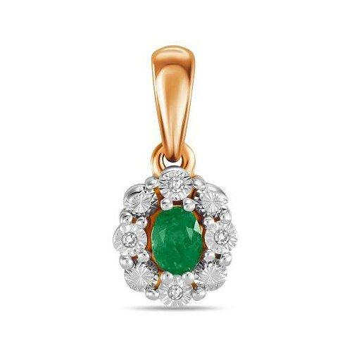 ЛУКАС Подвеска с изумрудом и бриллиантами из красного золота P01-D-L-34846-EM