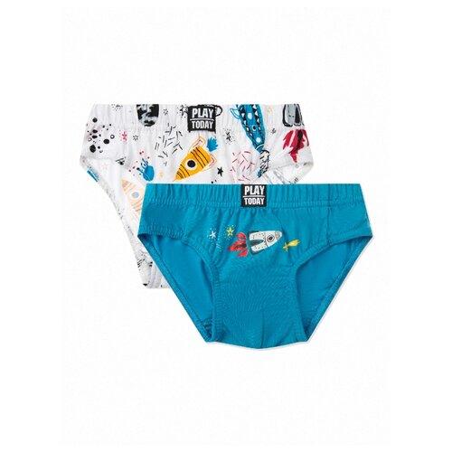 Купить Трусы playToday 2 шт., размер 110-116, белый/голубой, Белье и пляжная мода