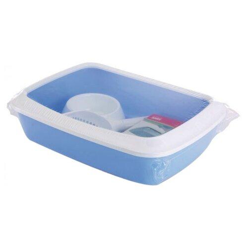 Туалет-лоток для кошек SAVIC Iriz Starter Kit 42х31х12 см голубой/белый