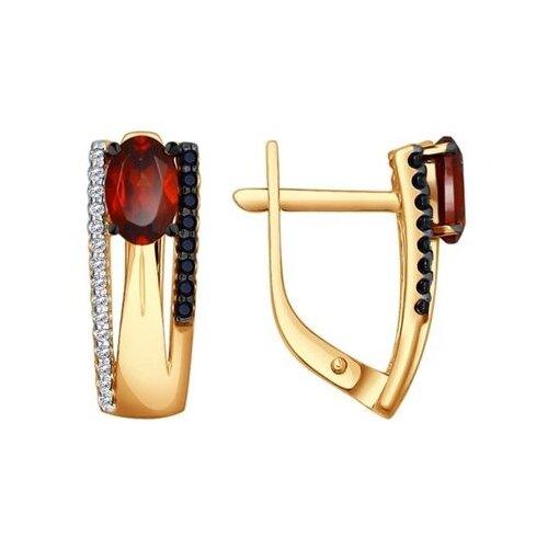 SOKOLOV Серьги из золота с гранатами, фианитами и чёрными фианитами 724132
