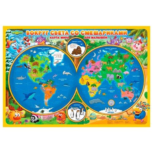ГеоДом Карта Мира настольная для малышей Вокруг света со Смешариками (4607177453989)