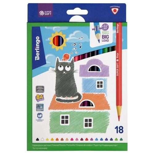 Фото - Berlingo Карандаши цветные SuperSoft Жил-был кот 18 цветов (SS00518) berlingo карандаши цветные пластиковые цирк 18 цветов cp 04812