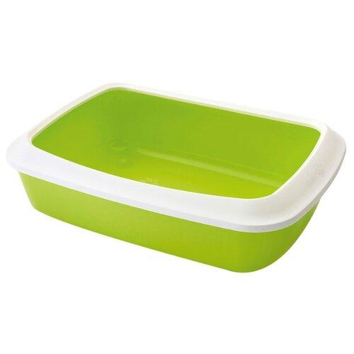Туалет-лоток для кошек SAVIC Iriz+Rim M 42х31х12.5 см зеленый/белый