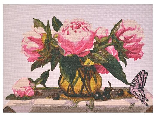 Hobby & Pro Набор для вышивания Розовые пионы 44 х 28 см (969)