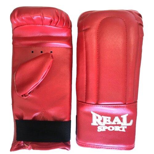 Боксерские перчатки Realsport тренировочные L красный