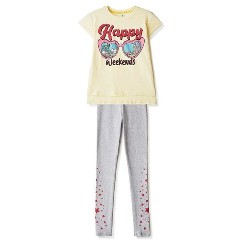 Купить Комплект одежды Elaria размер 134, серый/лимонный, Комплекты и форма
