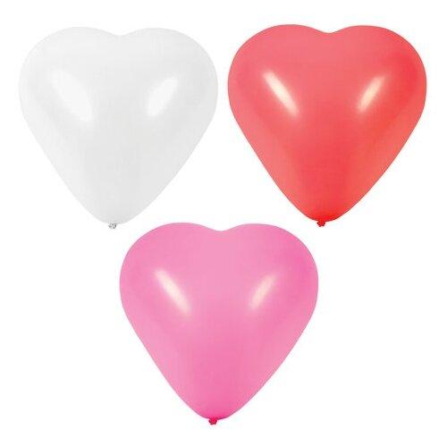 Набор воздушных шаров Золотая сказка Сердце 105008 (50 шт.) белый/розовый/красный