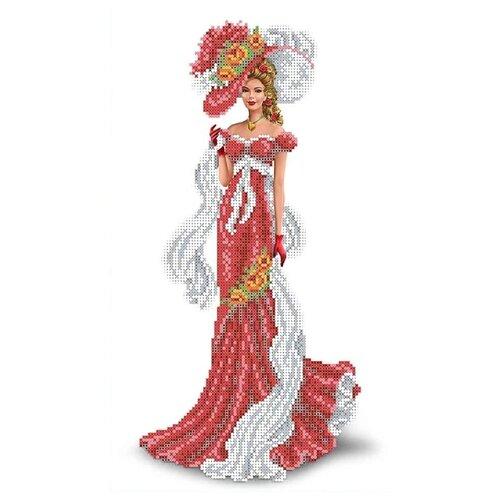 Канва для вышивания с рисунком Каролинка Дама с шарфом КБЛ-3015, многоцветный 23.7 х 39.1 см
