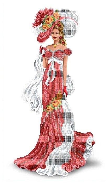 Канва для вышивания с рисунком Каролинка Дама с шарфом КБЛ-3015 23.7 х 39.1 см