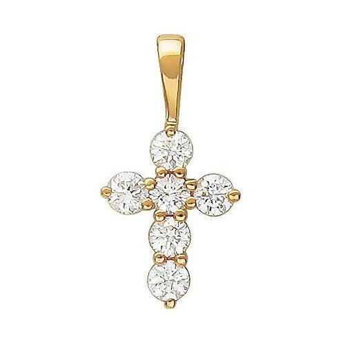 Эстет Крестик с бриллиантами из комбинированного золота Г10Р610317 ЭСТЕТ