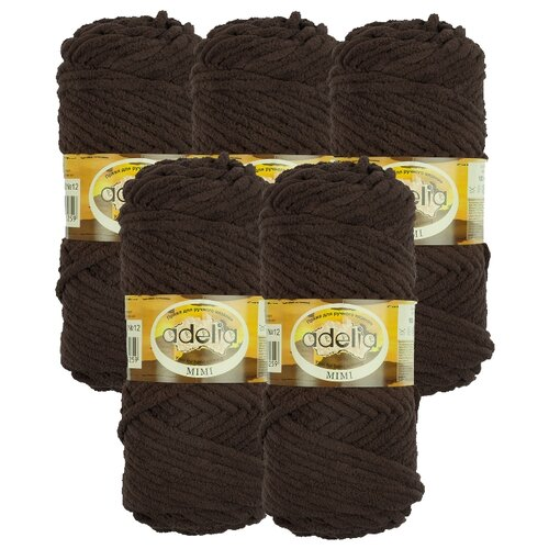 Купить Пряжа Adelia Mimi, 100 % полиэстер, 100 г, 80 м, 5 шт., №12 коричневый