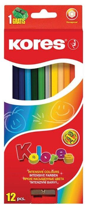 Kores Карандаши цветные, 12 цветов, с точилкой (128902)
