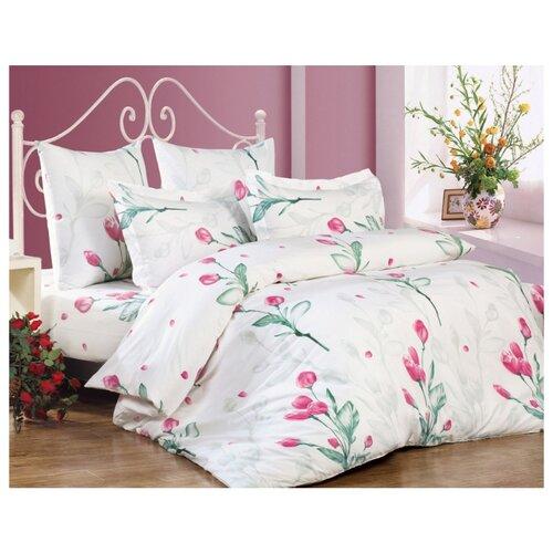 цена Постельное белье 2-спальное СайлиД A-152, поплин белый/зеленый/розовый онлайн в 2017 году