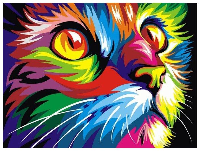 Купить Картины по Номерам на Холсте 40 х 50 см Радужный - Кот Холст на Подрамнике по низкой цене с доставкой из Яндекс.Маркета (бывший Беру)