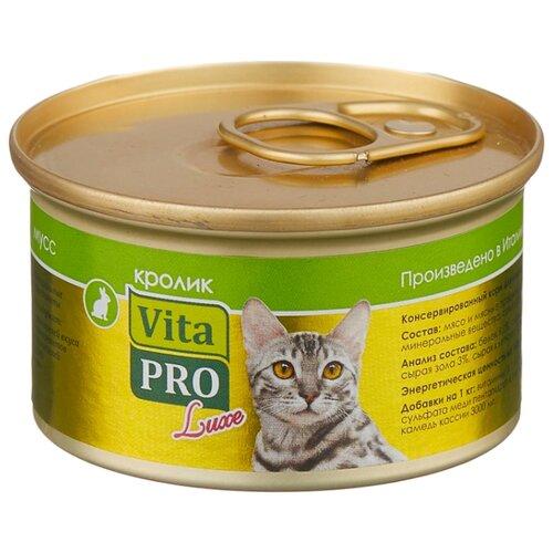 Корм для кошек Vita PRO 1 шт. Мяcной мусс Luxe для кошек, кролик 0.085 кг корм для кошек vita pro мяcной мусс luxe для стерилизованных кошек свинина 0 085 кг 1 шт