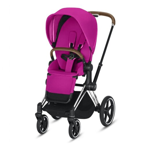 Прогулочная коляска Cybex Priam III fancy pink/chrome/brown, цвет шасси: серебристый коляска трость cybex topaz princess pink 2016 516203015