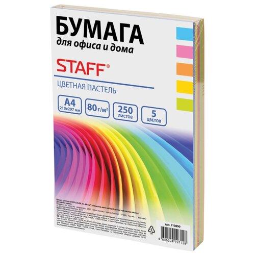 Фото - Бумага A4 250 шт. STAFF цветная бумага Пастель, для офиса и дома STAFF, A4, 250 л., 5 цв. средство для мытья пола 5 л любаша лимон пэт