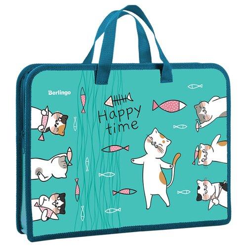 Купить Berlingo Папка-сумка с ручками Cats time А4, ПВХ, на молнии зеленый, Файлы и папки