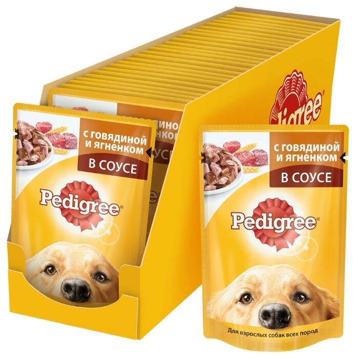 Корм для собак Pedigree для здоровья кожи и шерсти, для здоровья костей и суставов, говядина, ягненок 24шт. х 100г