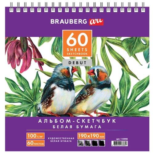 Купить Скетчбук BRAUBERG Art Debut 19 х 19 см, 100 г/м², 60 л., Альбомы для рисования