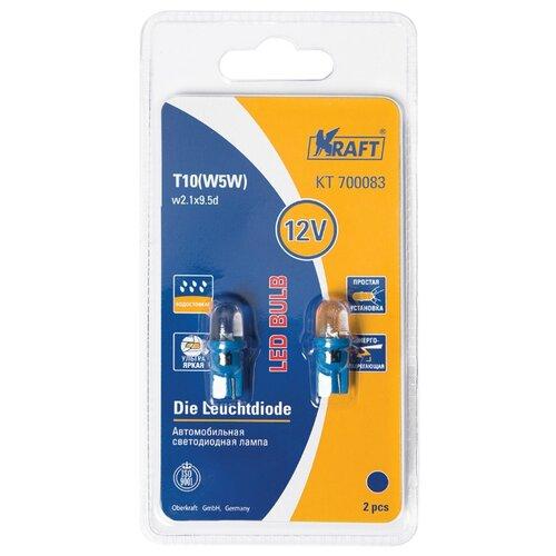 Фото - Лампа автомобильная светодиодная KRAFT T10 W5W 12v 0,5w (W2,1x9,5d) Blue KT 700083 2 шт. 2pcs t10 w5w 80w cree xqb chip led hid