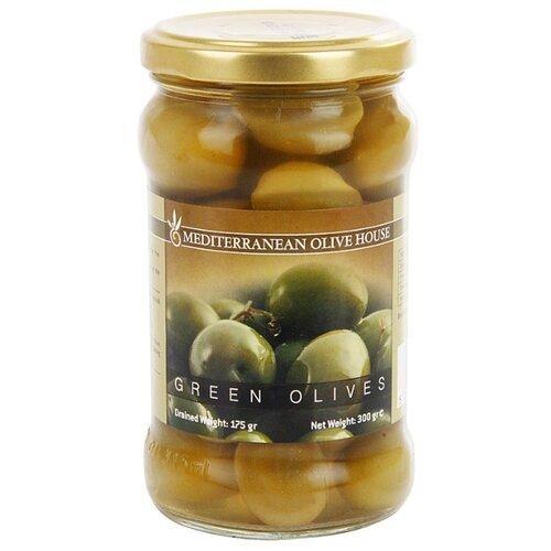 Mediterranean Olive House Оливки зелёные в рассоле с косточкой, стеклянная банка 300 г