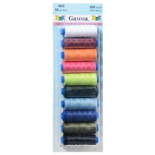 Gamma Набор швейных нитей №05 40/2 200 ярдов 183 м х 10 шт.
