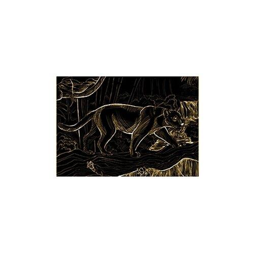 Гравюра Рыжий кот Пантера в джунглях, в пакете с ручкой (Г-9379) золотистая основа