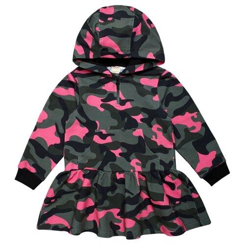 Платье ЁМАЁ размер 110, набивка милитали/фуксия