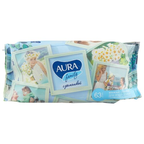 Влажные салфетки Aura Family антибактериальные с отваром ромашки, 63 шт.