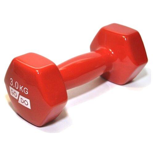 Гантель цельнолитая Go Do в виниловой оболочке 3 кг красный гантель виниловая 1 кг go do 1 кг красный