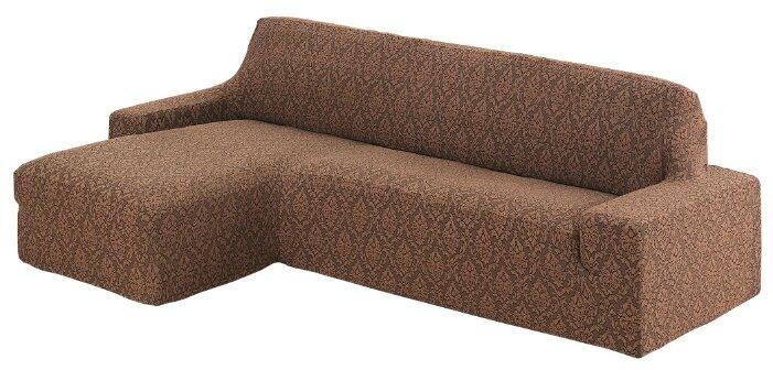 "Чехол на угловой диван Karna ""Milano"", левосторонний, цвет: коричневый"