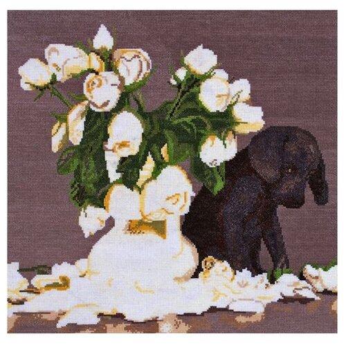 Купить Hobby & Pro Набор для вышивания Щенок и розы 40 х 39 см (695), Наборы для вышивания