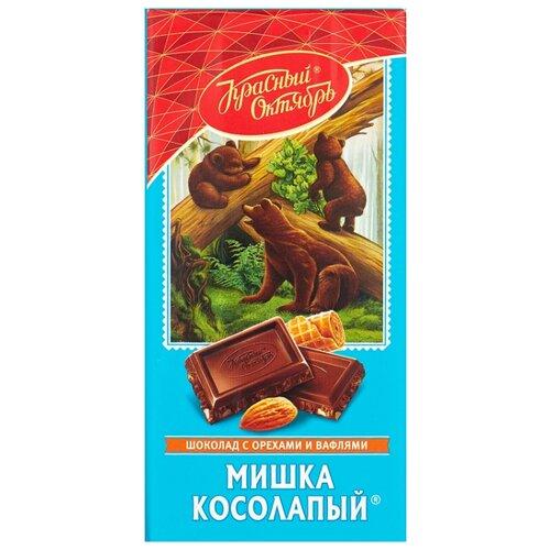 Шоколад Красный Октябрь Мишка косолапый темный с миндалем и вафельной крошкой, 75 г набор конфет красный октябрь вдохновенье темный шоколад 240г