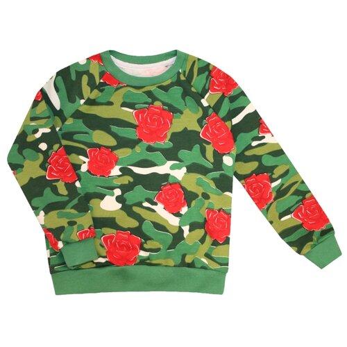 Купить Свитшот KotMarKot размер 116, зеленый/красный, Толстовки