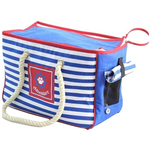 Сумка-переноска для собак Triol Nautica 41х20х28 см голубой/белый/красный сумка переноска для собак triol лаура 46х26 5х28 см голубой серый