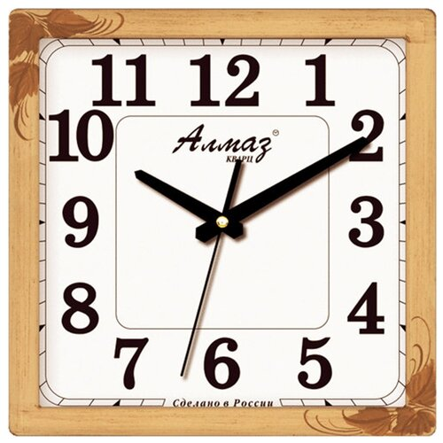 Часы настенные кварцевые Алмаз K69 бежевый/белый часы настенные кварцевые алмаз p04 p10 бежевый белый