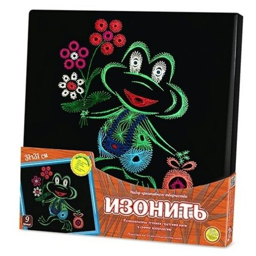 Купить Danko Toys Набор для вышивания Изонить Лягушонок 31 х 31 см (IZN-01-07), Наборы для вышивания