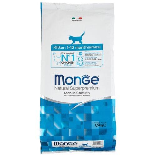 Сухой корм для котят Monge Natural Superpremium, для, с курицей 1.5 кг
