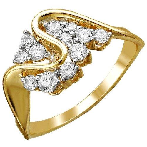 Эстет Кольцо с 12 фианитами из жёлтого золота 01К1312204Р, размер 18.5