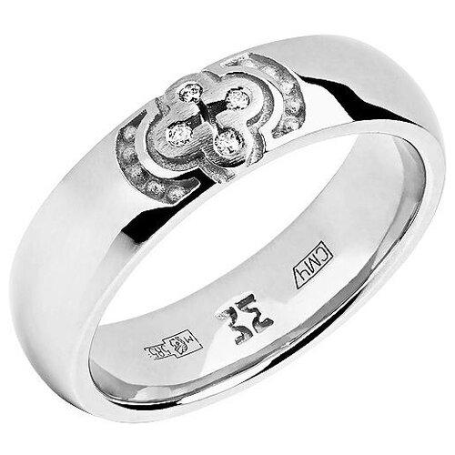 Эстет Кольцо с 4 бриллиантами из белого золота 01О620332, размер 16