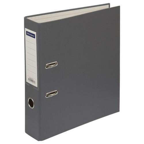 Купить OfficeSpace Папка-регистратор с карманом на корешке A4, бумвинил, 70 мм серый, Файлы и папки