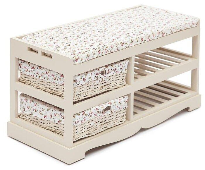 Обувница Secret de Maison Echoppe 4322 , размер (ШхГ): 80х35 см , цвет: слоновая кость/розочки